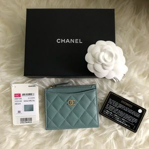 Chanel A84105 Teal Turquoise O Case Card Holder